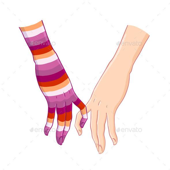 Two Women Holding Hands. Lesbian Community Rainbow