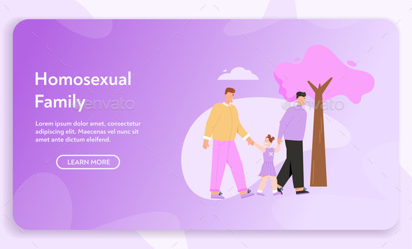 Vector Banner of Homosexual Family Concept