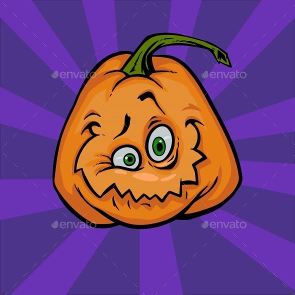Happy Halloween Pumpkin Cartoon Face