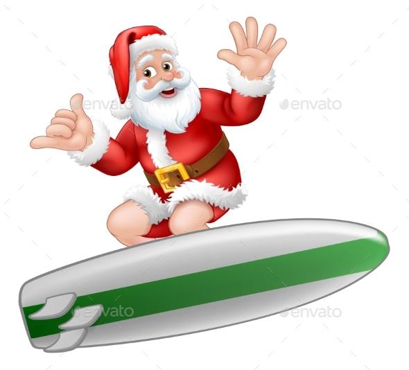 Santa Surfing On Surf Board Shaka Hand Cartoon