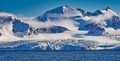 Deep Blue Glacier and Snowcapped Mountains, Arctic, Svalbard, Norway - PhotoDune Item for Sale
