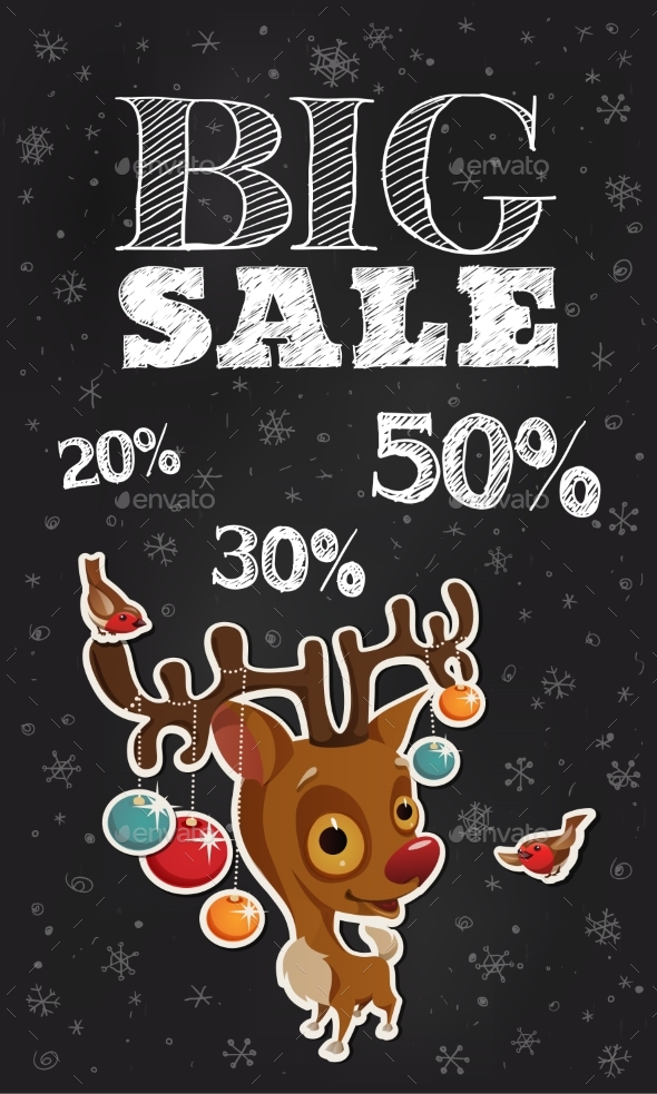 Black Friday Promo Sale Shopping Poster with Cute
