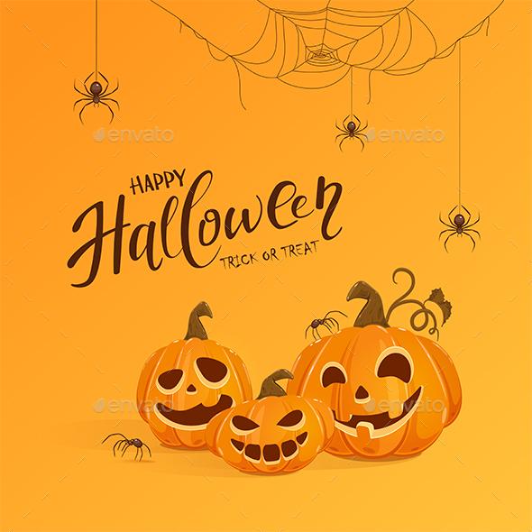 Happy Pumpkins on Orange Halloween Background