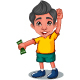 A Boy Standing With Money Cartoon - GraphicRiver Item for Sale