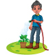 A Boy Watering The Plants Cartoon - GraphicRiver Item for Sale