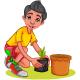 Boy Planting Tree In Garden Cartoon - GraphicRiver Item for Sale