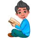 Cute Boy Reading Book Cartoon - GraphicRiver Item for Sale