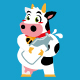 cow cartoon character sticker design - GraphicRiver Item for Sale