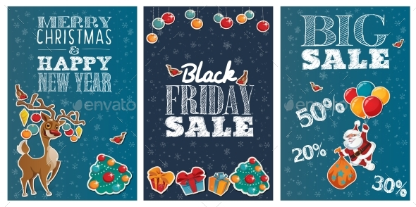 Set of Holiday Big Sale Posters with Cute Cartoon