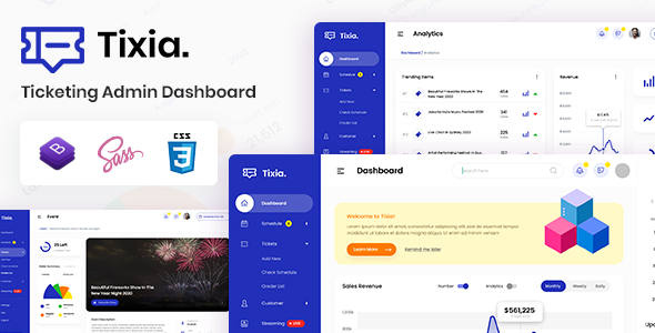 Tixia - Ticketing Admin Dashboard Bootstrap HTML Template