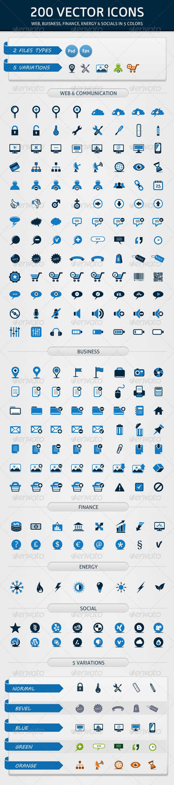 200 Vector Icons in 5 Colors