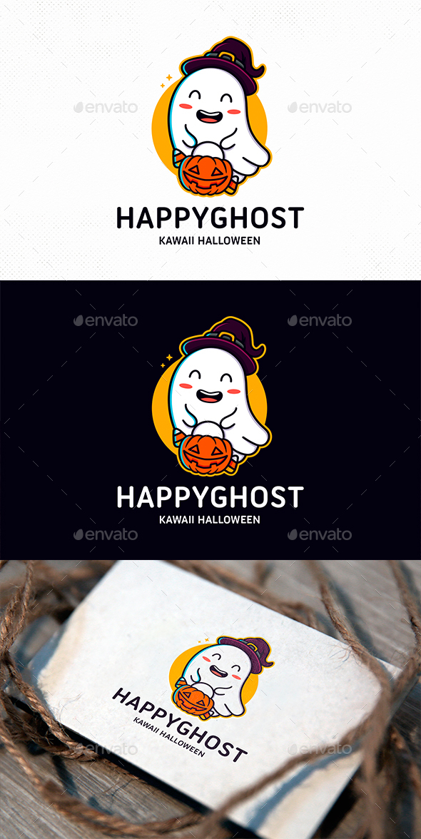 Happy Ghost Logo Template