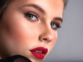 Beautiful photoshpped brown-hair girl. Close up of a pretty caucasian girl with red lipstick. - PhotoDune Item for Sale