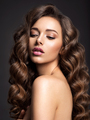 Beautiful woman with long brown hair. Beautiful face of an attractive model with natural makeup. - PhotoDune Item for Sale