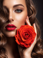 Beautiful woman with brown hair. Beautiful face of an attractive model with fashion makeup. - PhotoDune Item for Sale