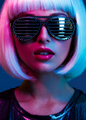 Stylish blonde in shiny dress and sunglasses with stresses. - PhotoDune Item for Sale