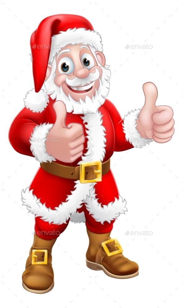 Santa Claus Christmas Cartoon Character Thumbs Up