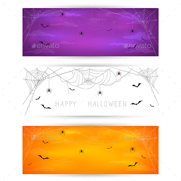 Set of Halloween Banners with Spiders and Bats