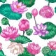 Pink Lotus Seamless Pattern - GraphicRiver Item for Sale