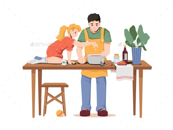 Father and Little Daughter Cooking Dinner Together