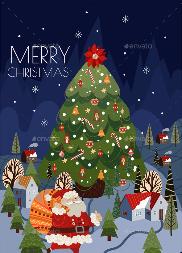 Christmas Cards with Simple Illustrations