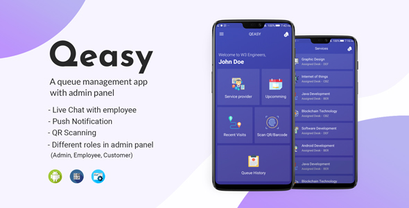Qeasy - A queue management app with admin panel