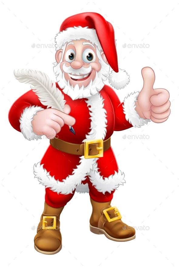 Santa Claus Quill Pen Thumbs Up Cartoon
