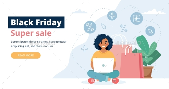 Black Friday Sale Banner with Woman Character