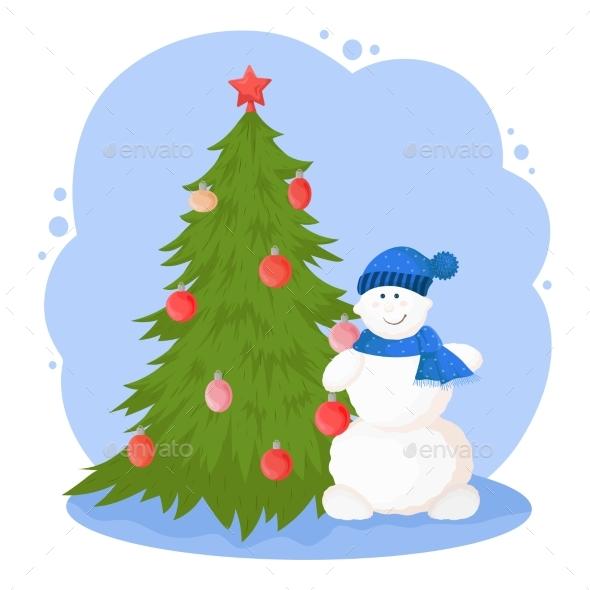 New Year Cartoon Illustration with Snowman
