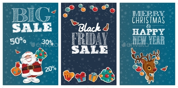 Holiday Big Sale Posters with Cute Cartoon