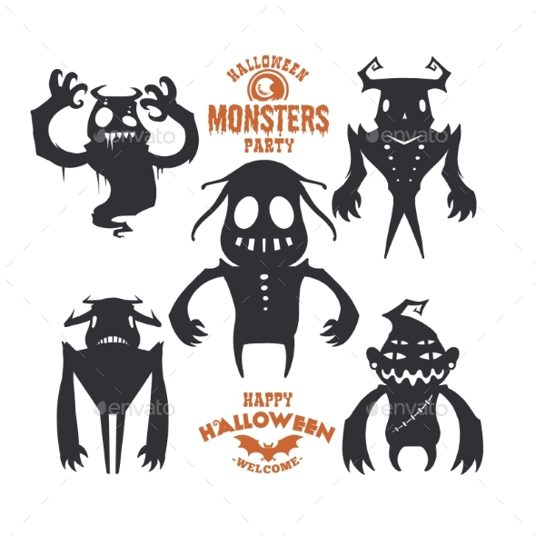 Set of Mystical Creatures for Halloween. A