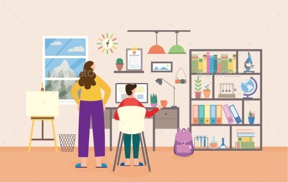 Cartoon Boy in Study Room Interior Learning Online