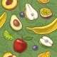 Set Tropical Fruits. Vector Engraving on Craft - GraphicRiver Item for Sale