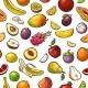 Set Tropical Fruits. Vector Color Vintage - GraphicRiver Item for Sale