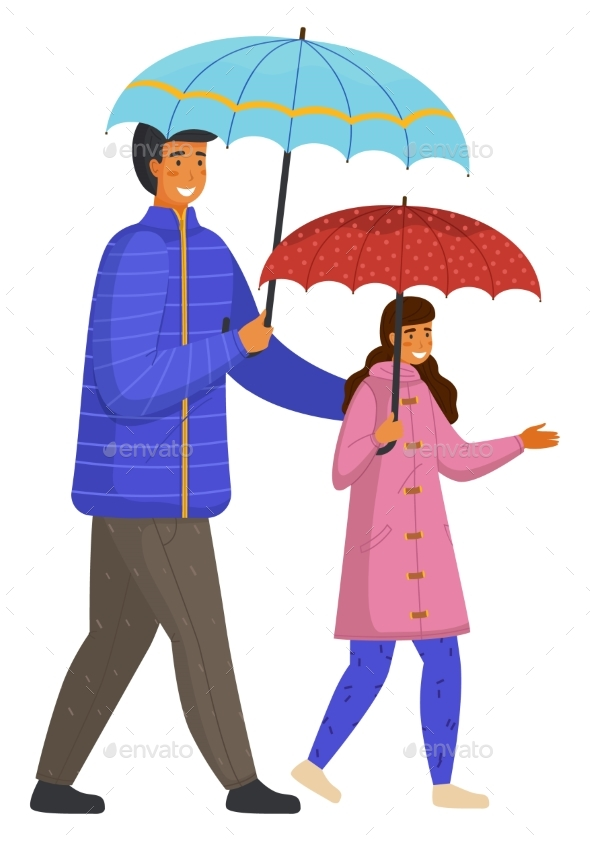 Rainy Weather, Father and Daughter with Umbrellas