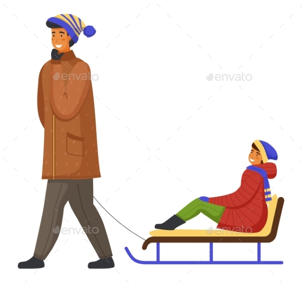 Family Wearing Warm Winter Clothes Walking, Father