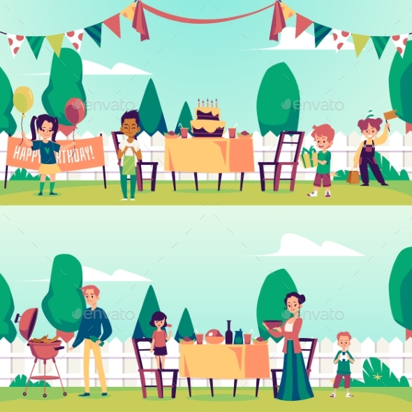Banners with Birthday or a Barbeque Party on