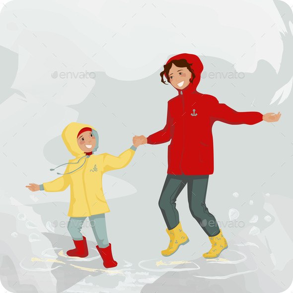 Jumping Up and Down Child and Mother