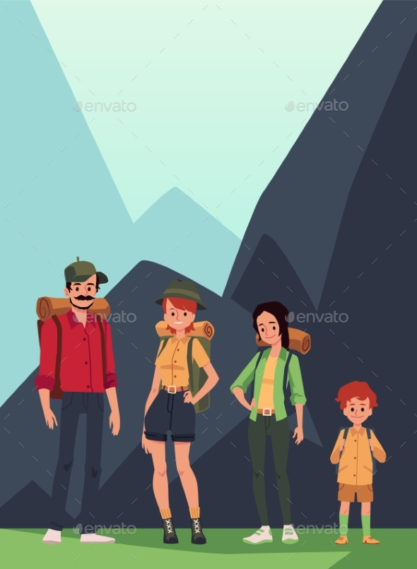 Family of Hikers or Tourists at Mountains