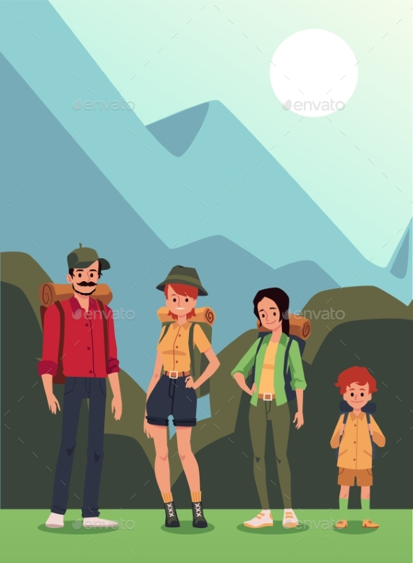 Family with Child Camping in Wooded Area, Cartoon