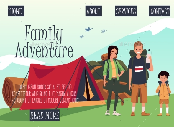 Family Adventure Site with Parents and Child in