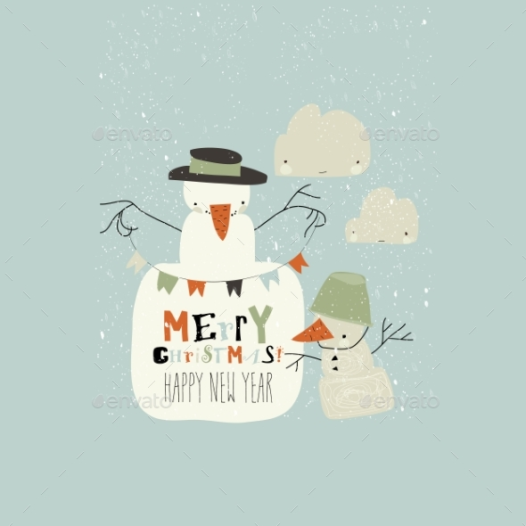 Funny Cartoon Snowmans Celebrating Winter Holidays