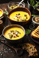Pumpkin soup with cream with pesto and pate foie gras - PhotoDune Item for Sale