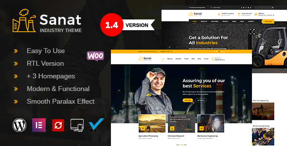Sanat - Factory & Industry WordPress Theme