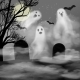 Realistic Halloween Vector Background with Ghosts - GraphicRiver Item for Sale