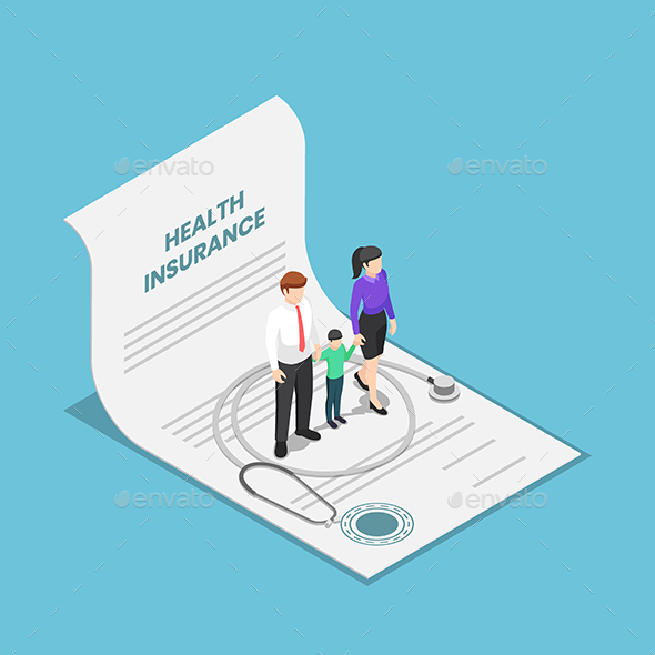 Isometric Family With Kid and Stethoscope on The Health Insurance Contract Document