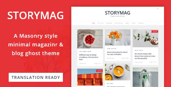 Storymag - Minimal Masonry Style Magazine and Blog Ghost Theme