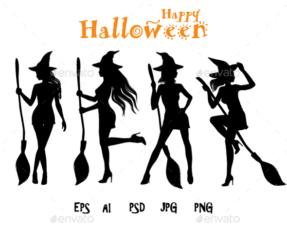 Halloween Silhouettes of Sexy Witch