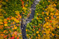 Aerial view of Winding River Through Autumn Trees with Fall Colors in New England - PhotoDune Item for Sale