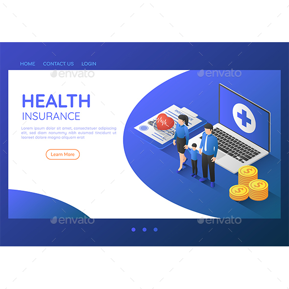 Isometric Web Banner Family Standing with Stethoscope on Health Insurance Document and Laptop